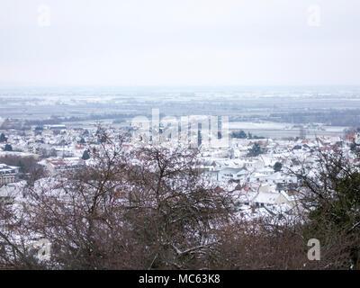 City of Wachenheim covered in snow, January 2018 - Stock Photo