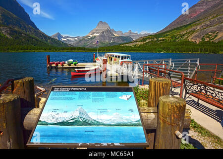 Swiftcurrent Lake, Glacier national Park, Montana - Stock Photo