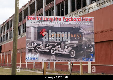 Detroit, Michigan/USA, April 6th, 2018 : A  'Revitalizing the Packard Plant' sign in front of the old abandoned Packard factory. - Stock Photo