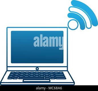 laptop computer connection wifi internet - Stock Photo