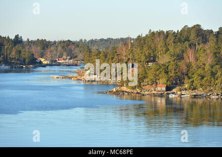 Stockholm archipelago, largest archipelago in Sweden, and second-largest archipelago in Baltic Sea. Early spring - Stock Photo