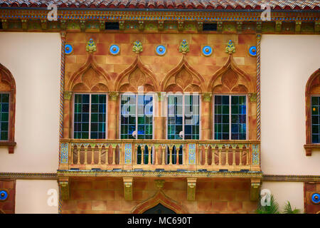 Architectural features of Ca D' Zan, the Ringling home in Sarasota FL, USA - Stock Photo