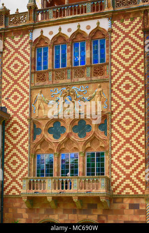 Close up of the architectural design at the John and Mabel Ringling home, Ca d' Zan in Sarasota, FL, USA - Stock Photo
