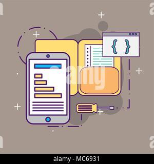 smartphone programming folder coding tool - Stock Photo