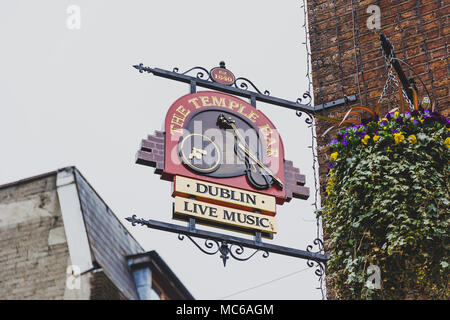 DUBLIN, IRELAND - April 12th, 2018: the Temple Bar pub in Dublin, arguably the most popular traditional Irish pub in Ireland - Stock Photo