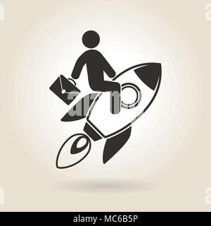 man flying on a rocket symbolizes the rapid growth in career - Stock Photo