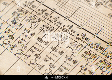 Electronic schematic diagram of retro television. Makro. - Stock Photo