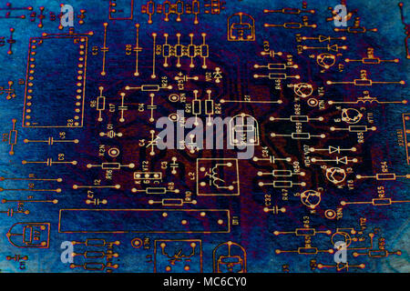 Abstract tech based on electronic schematic diagram of retro television. Makro. Grunge. - Stock Photo
