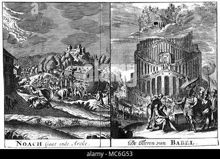 CHRISTIAN - NOAH'S ARK & TOWER OF BABEL [Left] Noah guides the animals, two by two, into the ark. [Right] The building of the Tower of Babel, that it reached even higher than the clouds. Fold-out plate, engraving from the Amsterdam 1685 edition of Spiegel der Sibyllen. - Stock Photo