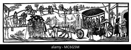 DISASTERS - PLAGUE Flight of townspeople into the country, to escape  from the  plague of 1630.  Broadside, A Looking-Glass for Town and Country. From John Richard Green, A Short History of the  English People, 1902 edn. - Stock Photo