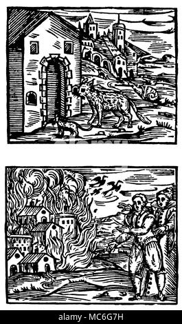 WITCHCRAFT - DEVIL AND WITCHES - BOOK OF DEATH [Top]  The delusion that witches can transform their bodies from one form to another - in this case, into a dog, a cat a snail.  The authority on mediaeval witchcraft, Guazzo, argues that such transformations are effected by the Devil only as a deceptive process, and cannot be put into practise other than by such deception.   See Chapter 13 of Guazzo's book (listed below). [Bottom]  The witches have power to burn down houses and other properties.  The example illustrated, and mentioned in particular by Guazzo, is the witchcraft that caused houses  - Stock Photo