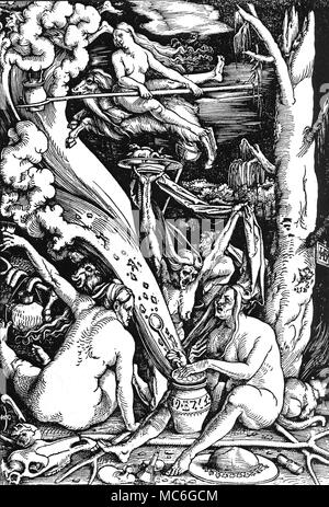 WITCHCRAFT - TRANSVECTING WITCHES 'The Witches' - woodcut by Hans Baldung Grien, 1510. Two witches are transvecting - one seemingly on a cloud, the other on the back of a goat (which is surely a devil in disguise). The witch in the foreground (right) is opening a witch-jar, from which stream all kinds of evil; the jar is inscribed with Hebrew-like letters, pointing to the fact that Jews were regarded little more highly than witches, in the early 16th century. Behind this witch is a cat familiar. In the immediate foreground is a magic mirror, or scrying mirror, used for looking into the f - Stock Photo