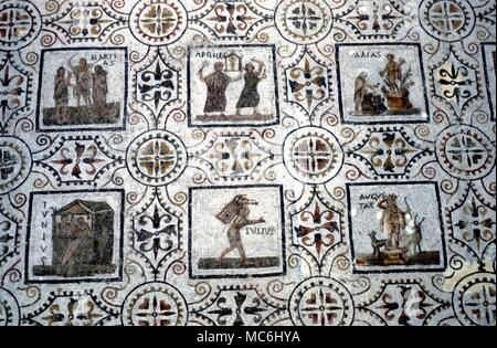 Seasons Mosaic of the Months from the Roman period (circa 3rd Century AD) now in Sousse Museum Tunisia - Stock Photo