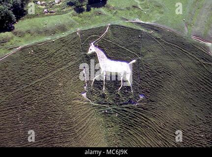 AERIAL BRITAIN.  The Cherhill Horse, said to have been cut in 1780 by Dr Alsop of Caine.  Indications are that he was merely recutting an ancient figure - Stock Photo