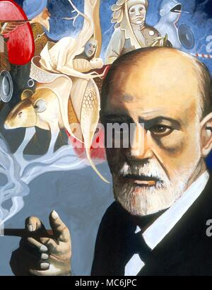 OCCULTISTS - FREUD.  Sigmund Freud (1856-1939) - Austrian founder of psycho-analysis, based to a large extent on hypnosis, dream interpretation, and his grasp of neurolgoy.  he worked for some time under Charcot - Stock Photo