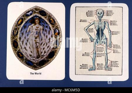 Tarot Cards - Major Arcana - Private Design In Modern times, it has become commonplace for those practicing the Tarot to design their own decks. These two cards are an example, from a privately designed packs, each representing The Death card. - Stock Photo