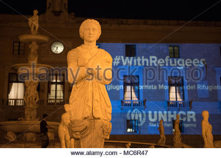 World Refugee Day, unchr, reflections on Palazzo Pretorio, Palermo - Stock Photo
