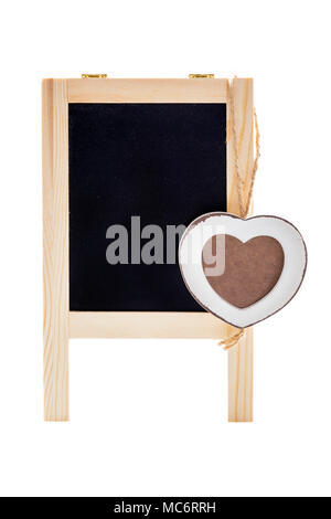 Blank black chalk board with wooden heart shape frame for photo. Isolated on white. - Stock Photo