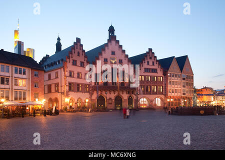 Frankfurt am Main, Hesse, Germany - April 11, 2010: Night life at restaurants and Souvenir Shops at Romerberg square, the old town center and the Rome - Stock Photo