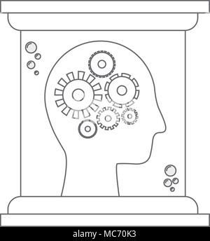 head profile human with gears in futuristic glass bottle vector illustration design - Stock Photo