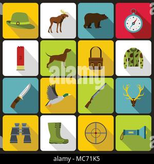 Hunting icons set in flat style - Stock Photo