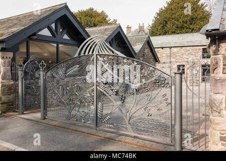 The Lakes Distillery entrance gates, Bassenthwaite, Cumbria, England, uk - Stock Photo