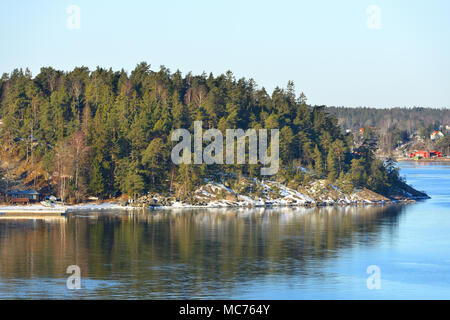 Stockholm archipelago, largest archipelago in Sweden, and second-largest archipelago in Baltic Sea. March - Stock Photo