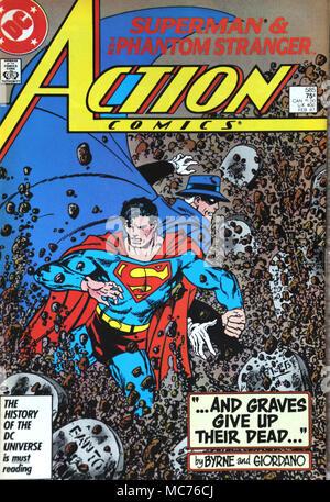 Vintage DC Action Comic Book Superman and the Phantom Stranger - Stock Photo
