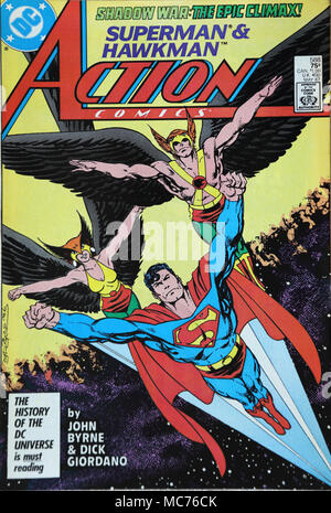 Vintage DC Action Comic Book Superman and Hawkman - Stock Photo