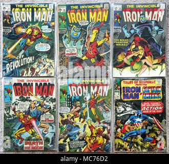 Collection of The Invincible Iron Man Vintage Marvel Comic Books - Stock Photo