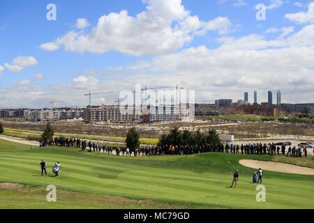 Madrid, Spain. 13th Apr, 2018. General view of the first hole during the second day of the Spanish Open golf tournament in Madrid, Spain, 13 April 2018. Credit: Victor Lerena/EFE/Alamy Live News - Stock Photo