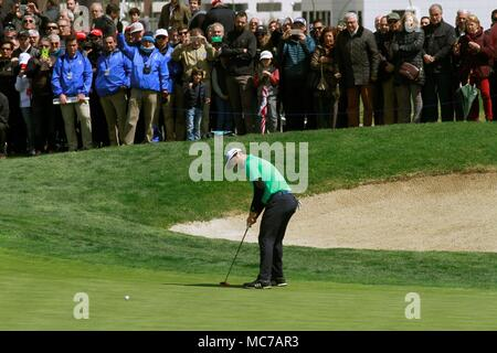 Madrid, Spain. 13th Apr, 2018. Jon Rahm of Spain hits the ball during the second day of the Spanish Open golf tournament in Madrid, Spain, 13 April 2018. Credit: Victor Lerena/EFE/Alamy Live News - Stock Photo