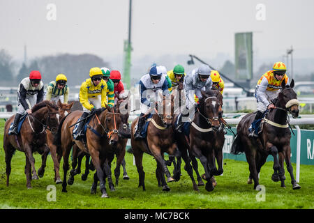 Aintree, Liverpool, Merseyside, UK. 13th April 2018, Aintree Racecourse, Liverpool, England; The Randox Health Grand National 2018; Runners and riders during The Doom Bar Sefton Novices Hurdle Credit: News Images/Alamy Live News - Stock Photo