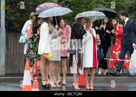Aintree, Liverpool, Merseyside, UK. 13th Apr, 2018. Ladies Day, the girls are all dressed up in their finest for a day out at The Randox Health Grand National, Credit: ken biggs/Alamy Live News - Stock Photo