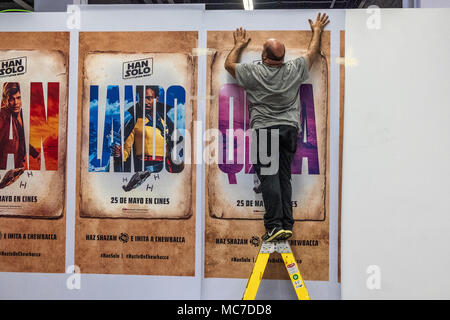 Barcelona, Spain. 13th Apr, 2018. An operator is seen on a staircase making the last arrangements of the comic fair. The 36th Barcelona International Comic Fair from 12th-15th April 2018 in Fira Barcelona Montjuïc. Credit: SOPA Images Limited/Alamy Live News - Stock Photo