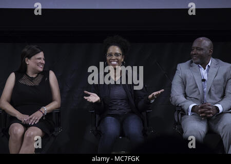 New York, NY, USA. 12th Apr, 2018. KAREN DONOVAN BROWN, The great granddaughter of Marshall Walter ''Major'' Taylor, Ayesha McGowan, Elite cyclist, Anthony Taylor, National Brotherhood of Cyclists, are guest panelist for the premiere of ''The Major'' in New York. 'The Major'' is a documentary on the life of Marshall Walter ''Major'' Taylor which will be broadcasted on ESPN. Taylor was the first African-American World Champion cyclist. Credit: Brian Branch Price/ZUMA Wire/Alamy Live News - Stock Photo