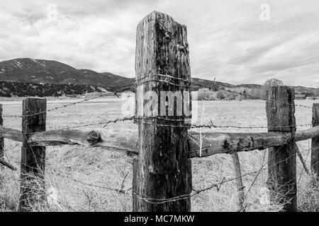 Black & white of wooden fencepost and barbed wire; Vandaveer Ranch; Salida; Colorado; USA - Stock Photo