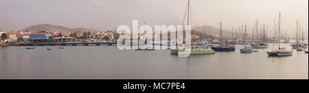 Sailboats moored in Mindelo harbour, Sao Vicente island (Cape Verde) - Stock Photo
