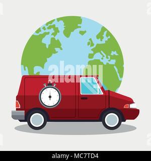 Delivery van around world - Stock Photo