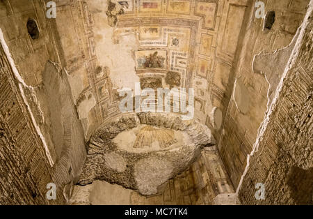 Remains of wall murals inside Domus Aurea in Rome - Stock Photo
