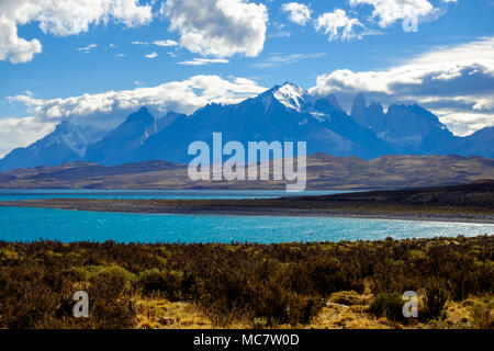 View of Torres del Paine, Chile, with Lake Sarmiento on the foreground. - Stock Photo