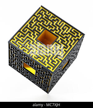 3D cube with labyrinth walls on the sides. 3D illustration. - Stock Photo