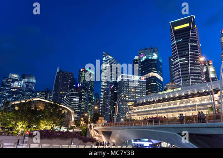 Nght photo of Singapore Central Business District and Financial Centre near Fullerton Hotel, Singapore, April 14, 2018 - Stock Photo