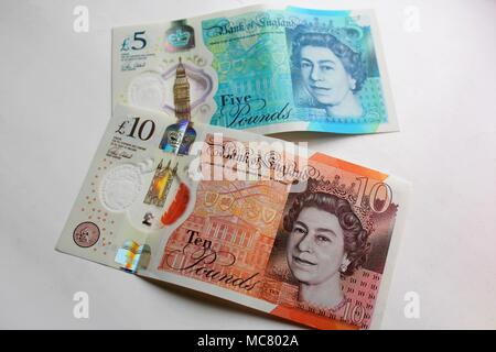 New Five and Ten Pound Bank of England Polymer Plastic Notes - Stock Photo