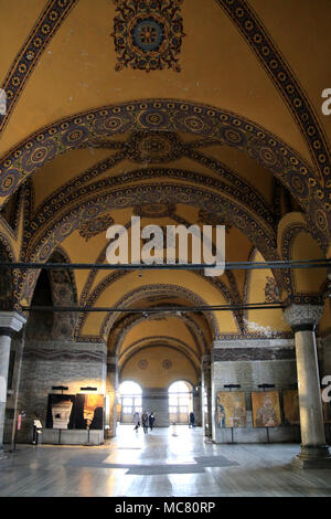 Ancient Christian art at the upper gallery inside Hagia Sophia in Istanbul, Turkey - Stock Photo