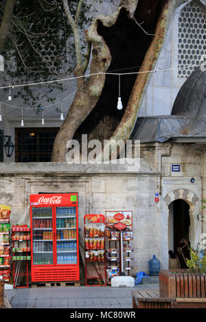 Red Coca-Cola refrigerator, refreshments and snacks along a wall in front of an old building with a very old tree in the background - Istanbul, Turkey - Stock Photo