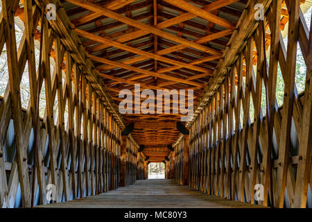 The patterns of the inside of the Clarkson Covered Bridge in Alabama. - Stock Photo