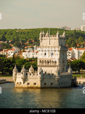The Belem Tower on the bank of the Tagus River in Lisbon, Portugal - Stock Photo