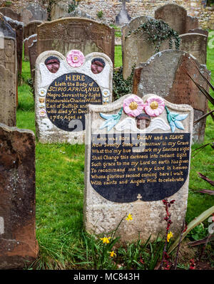 The grave of revered eighteenth century black slave given the name Scipio Africanus in St Mary's Henbury churchyard Bristol UK - Stock Photo