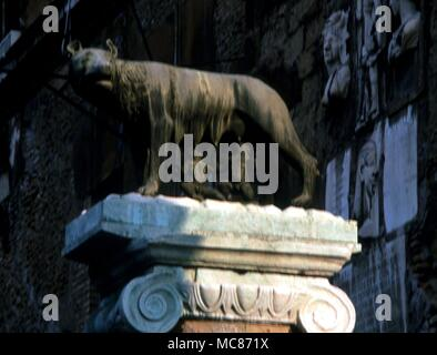 The wolf suckling Romulus and Remus, statue on the Campidoglia, Rome - Stock Photo